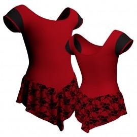 Body danza con gonnellino in belen pro maniche aletta e inserto SK714LCB408T