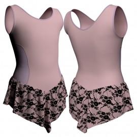 Body danza con gonnellino in belen pro senza maniche e inserto SK714LCB415