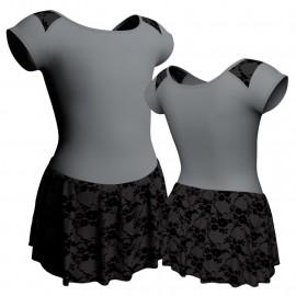 Body danza maniche aletta con inserto belen pro e gonnellino in belen pro SK1LBB1004