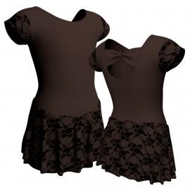 Body danza maniche aletta con inserto belen pro e gonnellino in belen pro SK1LBB210T