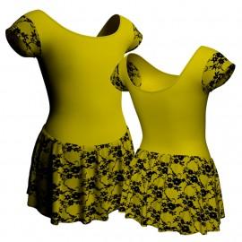 Body danza maniche aletta con inserto belen pro e gonnellino in belen pro SK1LBB408T