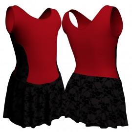 Body danza senza maniche con inserto belen pro e gonnellino in belen pro SK1LBB415