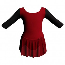 Body danza con gonnellino in chiffon maniche 3/4 con inserto SK515LCC406T