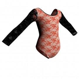 Body danza in belen pro maniche lunghe con inserto in rete o pizzo PBR405T