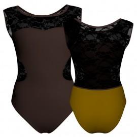 Body danza bicolore senza maniche con inserto in rete o pizzo PLG1001SS