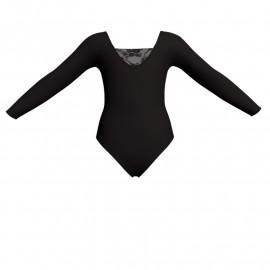 Body danza bicolore maniche lunghe con inserto in rete o pizzo PLG2532