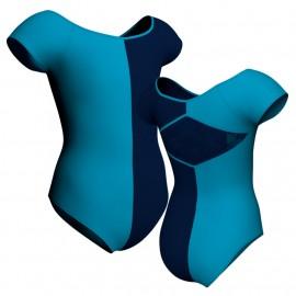 Body danza bicolor maniche aletta con inserto PLL240
