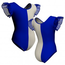 Body danza bicolor con inserto e maniche a volant PLL2801