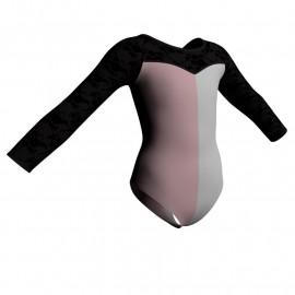 Body danza bicolore maniche lunghe con inserto belen pro PLZ1019