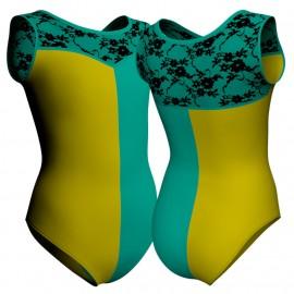 Body danza bicolore senza maniche con inserto belen pro PLZ1019T
