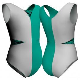 Body danza bicolore senza maniche con inserto belen pro PLZ115SST