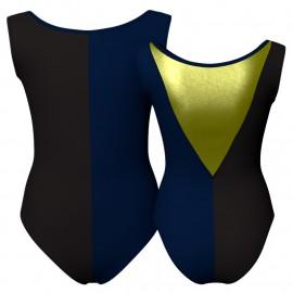 Body danza bicolore senza maniche con inserto in lurex PLF1003