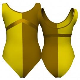 Body danza bicolore senza maniche con inserto in lurex PLF125