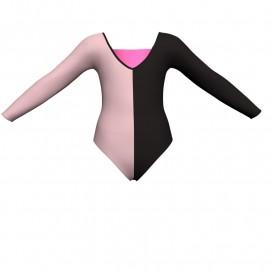 Body danza bicolore maniche lunghe con inserto in lurex PLF2532