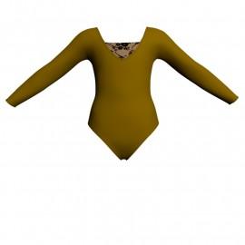 Body danza bicolore maniche lunghe con inserto belen pro PLH2532