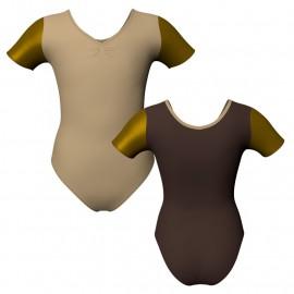 Body danza bicolore manica corta con inserto in lurex PLI1008T