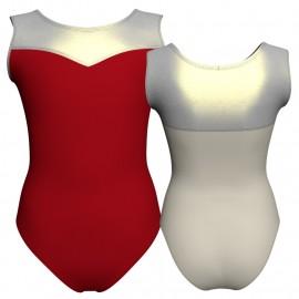 Body danza bicolore senza maniche con inserto in lurex PLI1019T