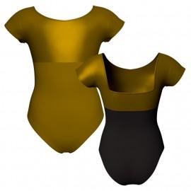 Body danza bicolore maniche aletta con inserto in lurex PLI231