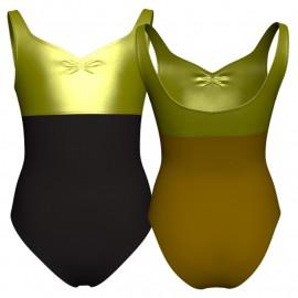 Body danza bicolore senza maniche con inserto in lurex PLI239