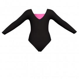 Body danza bicolore maniche lunghe con inserto in lurex PLI2532