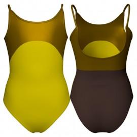 Body danza bicolore bretelle con inserto in lurex PLI215