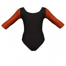 Body danza bicolore maniche 3/4 con inserto in lurex PLI406T