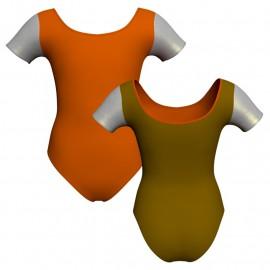 Body danza bicolore manica corta con inserto in lurex PLI407T