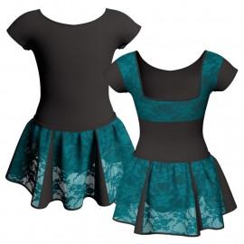 Vestito danza con gonnellino in pizzo maniche aletta e inserto SK302LPP231