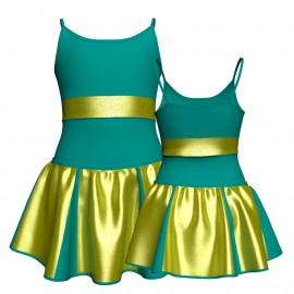 Vestito danza con gonnellino in lurex bretelle e inserto SK302LXX2815