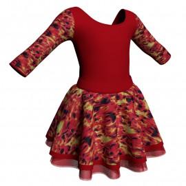Body danza con gonna maniche 3/4 e inserto fantasia SK319LFF406T
