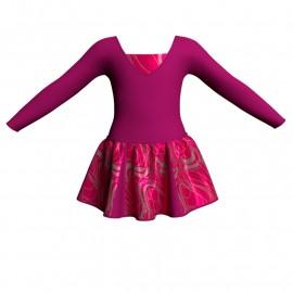 Vestito danza con gonnellino in lurex maniche lunghe e inserto SK302LXX2532