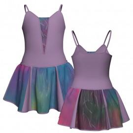 Vestito danza con gonnellino in lurex bretelle e inserto SK302LXX2609