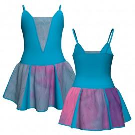 Vestito danza con gonnellino in lurex bretelle e inserto SK302LXX2618