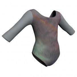 Body danza in lurex maniche 3/4 con inserto PXL406T