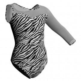 Body danza in lycra stampata Monospalla con inserto PSB1019SST