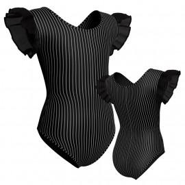 Body danza in lycra stampata con inserto e maniche a volant in rete o pizzo PSB2801