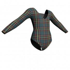 Body danza in lycra fantasy maniche lunghe con inserto PFR2532