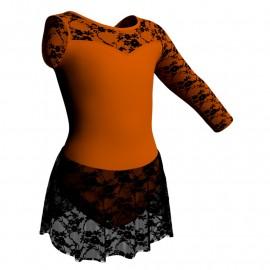 Body danza Monospalla con inserto belen pro e gonnellino in pizzo SK1LBP1019SST