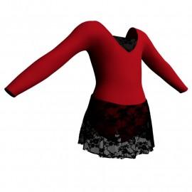 Body danza maniche lunghe con inserto belen pro e gonnellino in pizzo SK1LBP2532