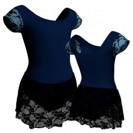 Body danza maniche aletta con inserto belen pro e gonnellino in pizzo SK1LBP408T