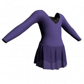 Body danza maniche lunghe con inserto belen pro e gonnellino in chiffon SK1LBC2532