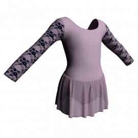 Body danza maniche lunghe con inserto belen pro e gonnellino in chiffon SK1LBC405T