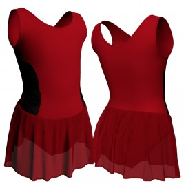 Body danza senza maniche con inserto belen pro e gonnellino in chiffon SK1LBC415