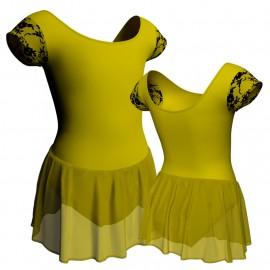 Body danza maniche aletta con inserto belen pro e gonnellino in chiffon SK1LBC408T