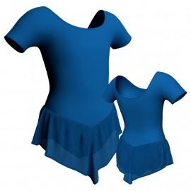 Body danza con gonnellino in chiffon manica corta SK714LCC407