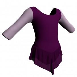 Body danza con gonnellino in chiffon maniche 3/4 e inserto SK714LCC406T