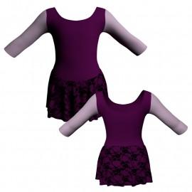 Body danza gonnellino in belen pro maniche 3/4 con inserto SK1LCB406T