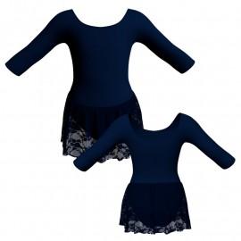 Body danza gonnellino in pizzo maniche 3/4 SK1LCP406
