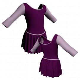 Body danza con gonnellino maniche 3/4 e inserto SK2LCL406T