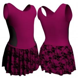 Body danza con gonnellino in belen pro senza maniche e inserto SK2LCB415